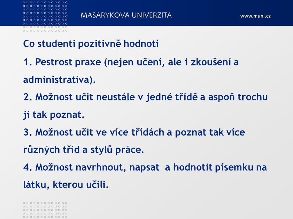 Co studenti pozitivně hodnotí 1. Pestrost praxe (nejen učení, ale i zkoušení a administrativa).