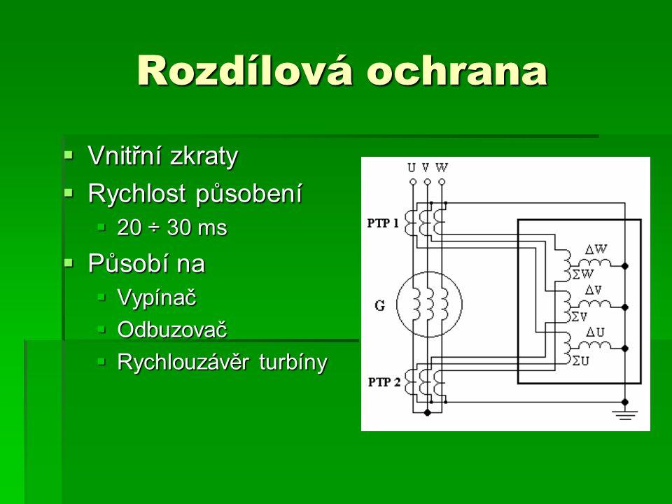 Rozdílová ochrana  Vnitřní zkraty  Rychlost působení  20 ÷ 30 ms  Působí na  Vypínač  Odbuzovač  Rychlouzávěr turbíny