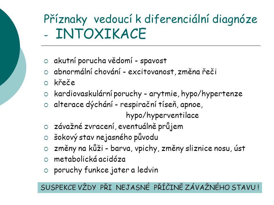 Příznaky vedoucí k diferenciální diagnóze - INTOXIKACE  akutní porucha vědomí - spavost  abnormální chování - excitovanost, změna řeči  křeče  kardiovaskulární poruchy - arytmie, hypo/hypertenze  alterace dýchání - respirační tíseň, apnoe, hypo/hyperventilace  závažné zvracení, eventuálně průjem  šokový stav nejasného původu  změny na kůži - barva, vpichy, změny sliznice nosu, úst  metabolická acidóza  poruchy funkce jater a ledvin SUSPEKCE VŽDY PŘI NEJASNÉ PŘÍČINĚ ZÁVAŽNÉHO STAVU !