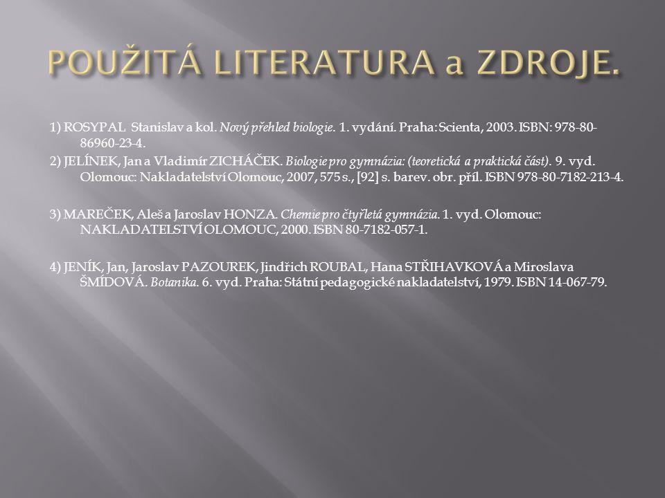 1) ROSYPAL Stanislav a kol. Nový přehled biologie. 1. vydání. Praha: Scienta, 2003. ISBN: 978-80- 86960-23-4. 2) JELÍNEK, Jan a Vladimír ZICHÁČEK. Bio