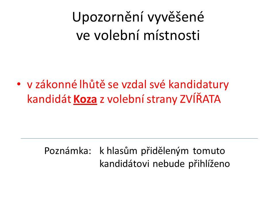 Upozornění vyvěšené ve volební místnosti v zákonné lhůtě se vzdal své kandidatury kandidát Koza z volební strany ZVÍŘATA Poznámka: k hlasům přiděleným tomuto kandidátovi nebude přihlíženo