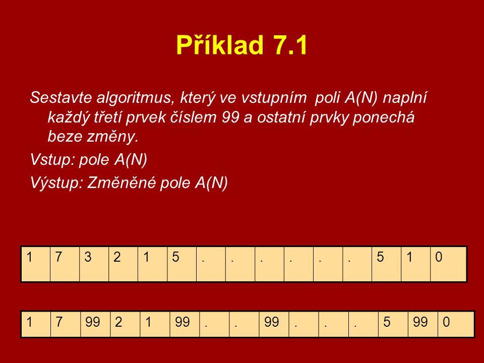 Příklad 7.1 Sestavte algoritmus, který ve vstupním poli A(N) naplní každý třetí prvek číslem 99 a ostatní prvky ponechá beze změny.