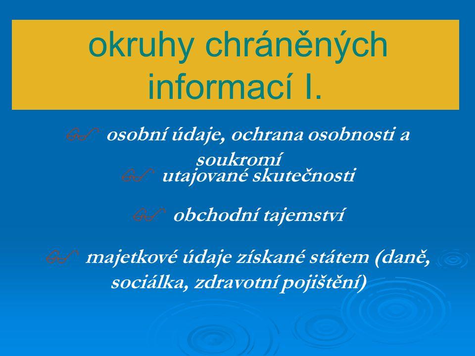 Rozptýlená právní úprava v ČR - příklady zákonů  Zákon o obcích, o krajích  správní řád  trestní řád  o periodickém tisku  o zadávání veřejných zakázek  o právu na informace o životním prostředí  o správě daní a poplatků  o archivnictví