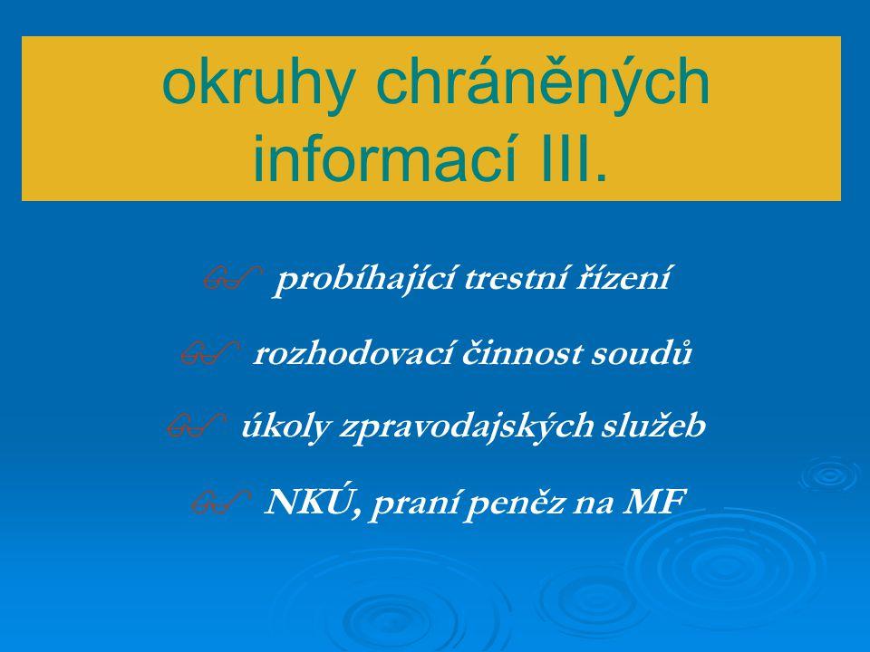okruhy chráněných informací II.