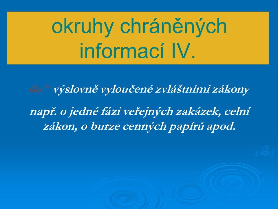 okruhy chráněných informací III.