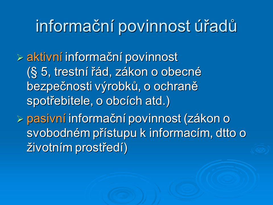 5 Základní principy přístupu k informacím Poskytování informací úřadem zveřejněním aktivní informační povinnost § 5 + § 18 + zvl.