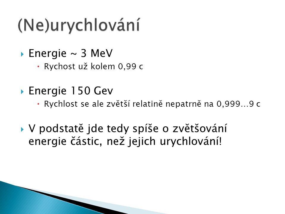  Energie ~ 3 MeV  Rychost už kolem 0,99 c  Energie 150 Gev  Rychlost se ale zvětší relatině nepatrně na 0,999…9 c  V podstatě jde tedy spíše o zv