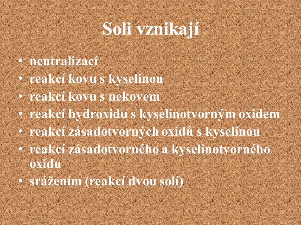 Soli vznikají neutralizací reakcí kovu s kyselinou reakcí kovu s nekovem reakcí hydroxidu s kyselinotvorným oxidem reakcí zásadotvorných oxidů s kysel