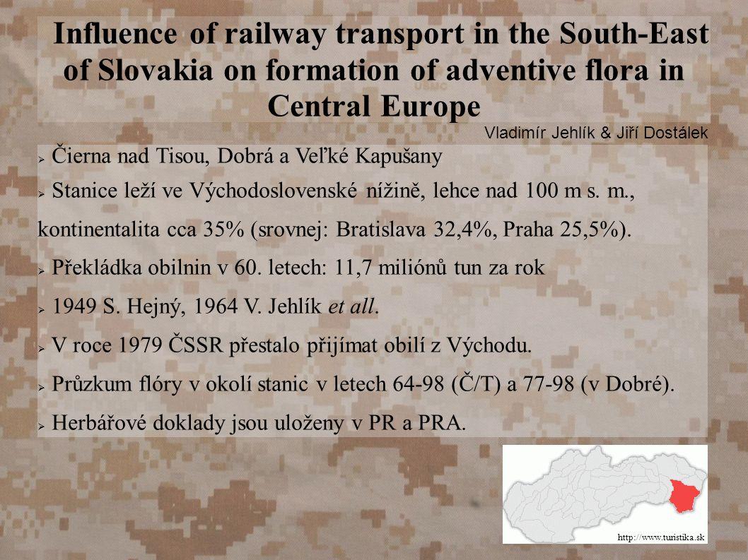 Influence of railway transport in the South-East of Slovakia on formation of adventive flora in Central Europe Vladimír Jehlík & Jiří Dostálek  Čierna nad Tisou, Dobrá a Veľké Kapušany  Stanice leží ve Východoslovenské nížině, lehce nad 100 m s.