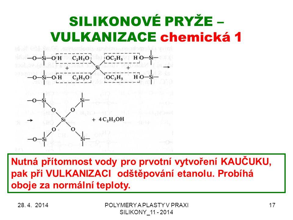 SILIKONOVÉ PRYŽE – VULKANIZACE chemická 1 28.4.