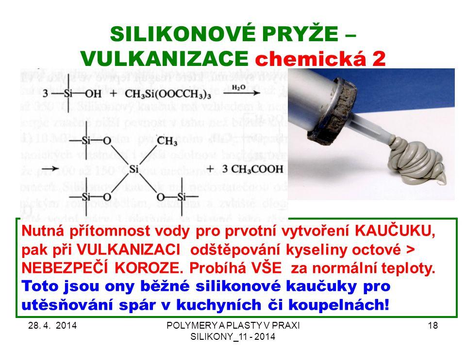 SILIKONOVÉ PRYŽE – VULKANIZACE chemická 2 28.4.