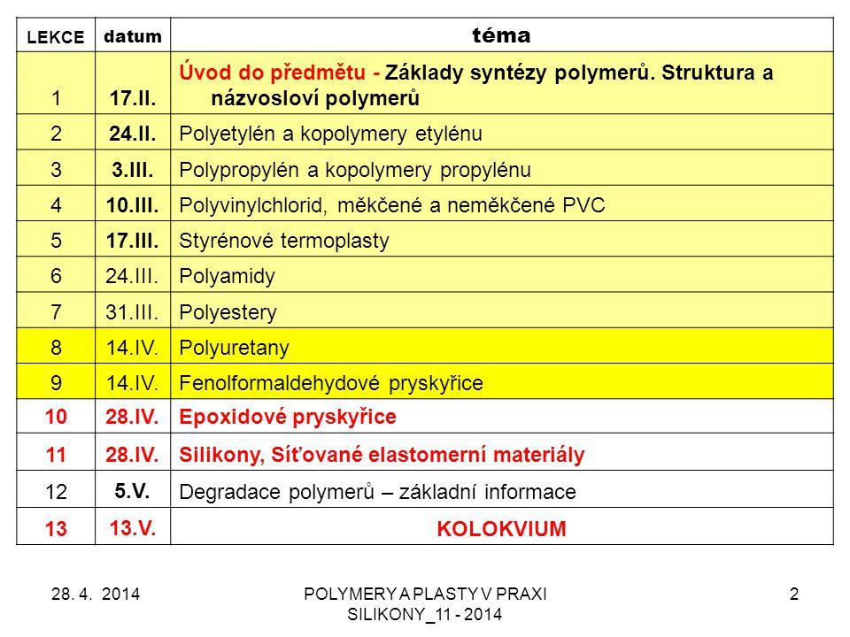 POLYMERY A PLASTY V PRAXI SILIKONY_11 - 2014 2 LEKCE datum téma 117.II.