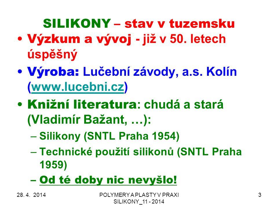 SILIKONY – stav v tuzemsku 28.4.