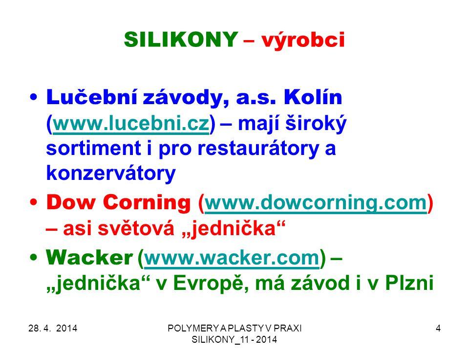 SILIKONY – hlavní oblasti použití 28.4.