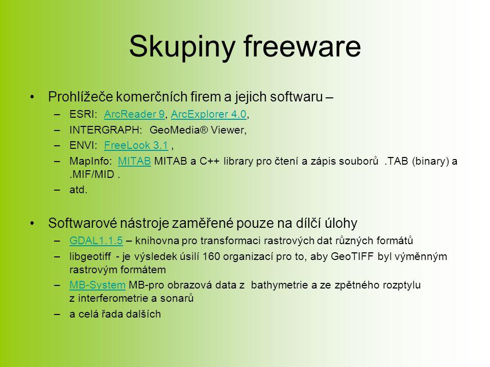 Skupiny freeware Prohlížeče komerčních firem a jejich softwaru – –ESRI: ArcReader 9, ArcExplorer 4.0,ArcReader 9ArcExplorer 4.0 –INTERGRAPH: GeoMedia® Viewer, –ENVI: FreeLook 3.1,FreeLook 3.1 –MapInfo: MITAB MITAB a C++ library pro čtení a zápis souborů.TAB (binary) a.MIF/MID.MITAB –atd.