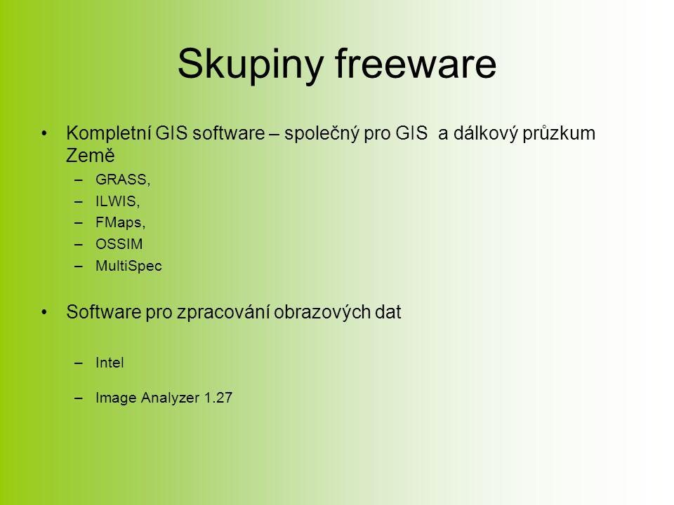 Skupiny freeware Kompletní GIS software – společný pro GIS a dálkový průzkum Země –GRASS, –ILWIS, –FMaps, –OSSIM –MultiSpec Software pro zpracování obrazových dat –Intel –Image Analyzer 1.27