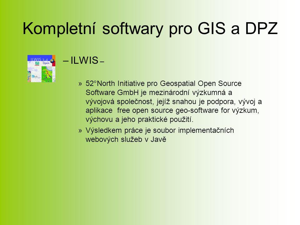 Kompletní softwary pro GIS a DPZ –ILWIS – »52°North Initiative pro Geospatial Open Source Software GmbH je mezinárodní výzkumná a vývojová společnost, jejíž snahou je podpora, vývoj a aplikace free open source geo-software for výzkum, výchovu a jeho praktické použití.