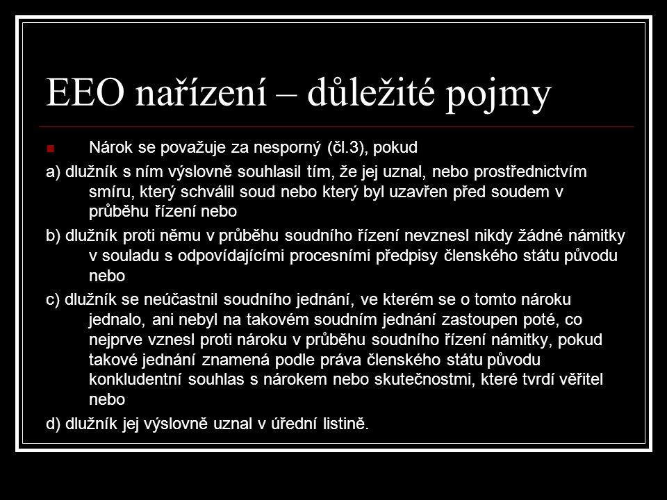 EEO nařízení – důležité pojmy Nárok se považuje za nesporný (čl.3), pokud a) dlužník s ním výslovně souhlasil tím, že jej uznal, nebo prostřednictvím