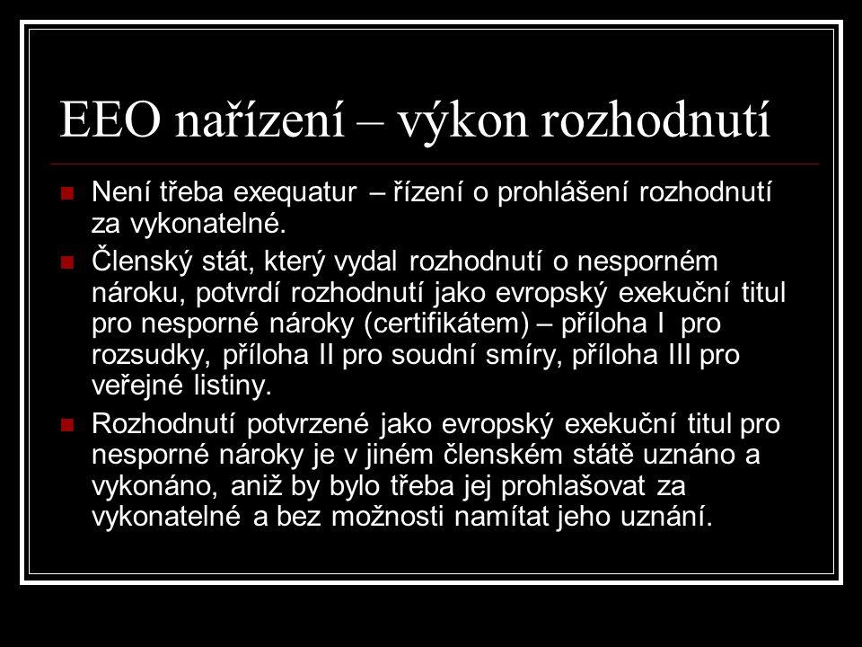 EEO nařízení – výkon rozhodnutí Není třeba exequatur – řízení o prohlášení rozhodnutí za vykonatelné. Členský stát, který vydal rozhodnutí o nesporném