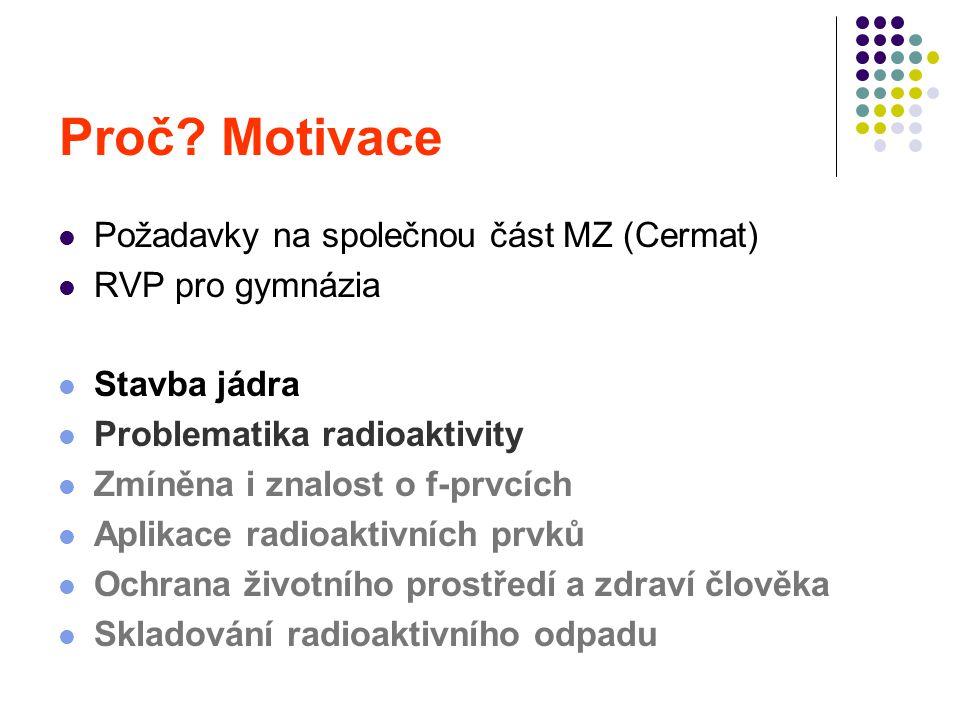 Požadavky na společnou část MZ (Cermat) RVP pro gymnázia Stavba jádra Problematika radioaktivity Zmíněna i znalost o f-prvcích Aplikace radioaktivních