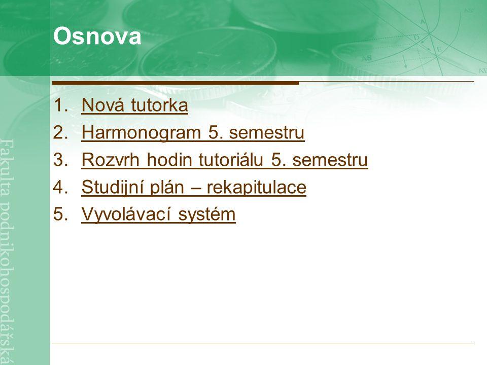 Osnova 1.Nová tutorkaNová tutorka 2.Harmonogram 5.
