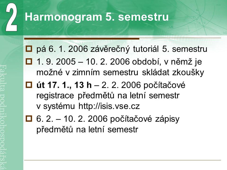 Harmonogram 5. semestru  pá 6. 1. 2006 závěrečný tutoriál 5.