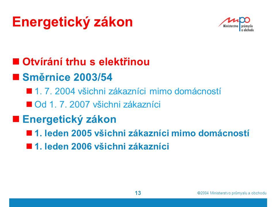  2004  Ministerstvo průmyslu a obchodu 13 Energetický zákon Otvírání trhu s elektřinou Směrnice 2003/54 1. 7. 2004 všichni zákazníci mimo domácnost