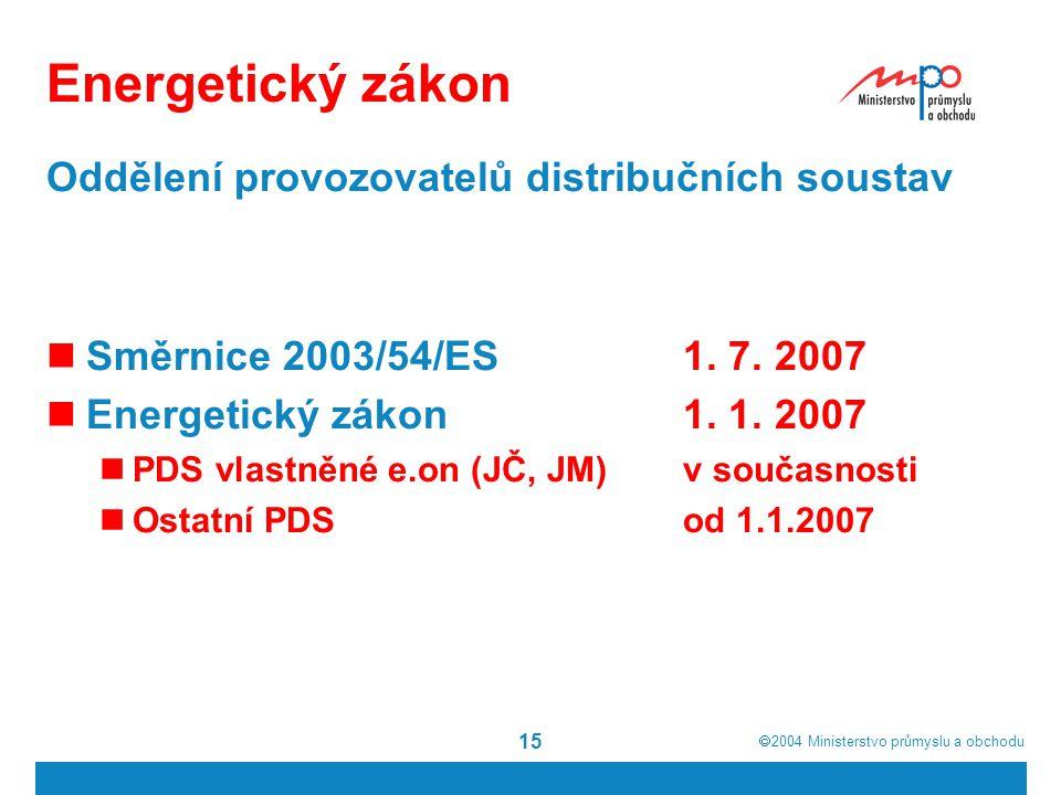  2004  Ministerstvo průmyslu a obchodu 15 Energetický zákon Oddělení provozovatelů distribučních soustav Směrnice 2003/54/ES1. 7. 2007 Energetický