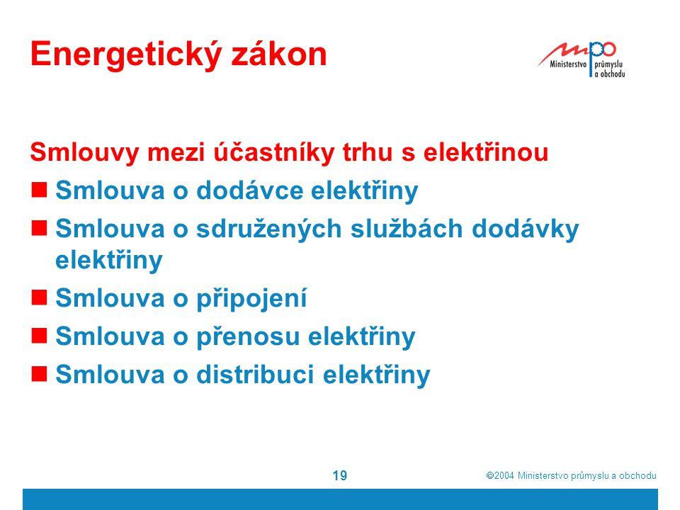  2004  Ministerstvo průmyslu a obchodu 19 Energetický zákon Smlouvy mezi účastníky trhu s elektřinou Smlouva o dodávce elektřiny Smlouva o sdružený