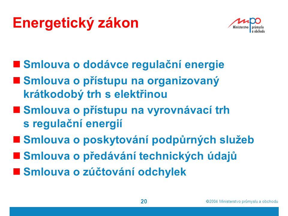  2004  Ministerstvo průmyslu a obchodu 20 Energetický zákon Smlouva o dodávce regulační energie Smlouva o přístupu na organizovaný krátkodobý trh s