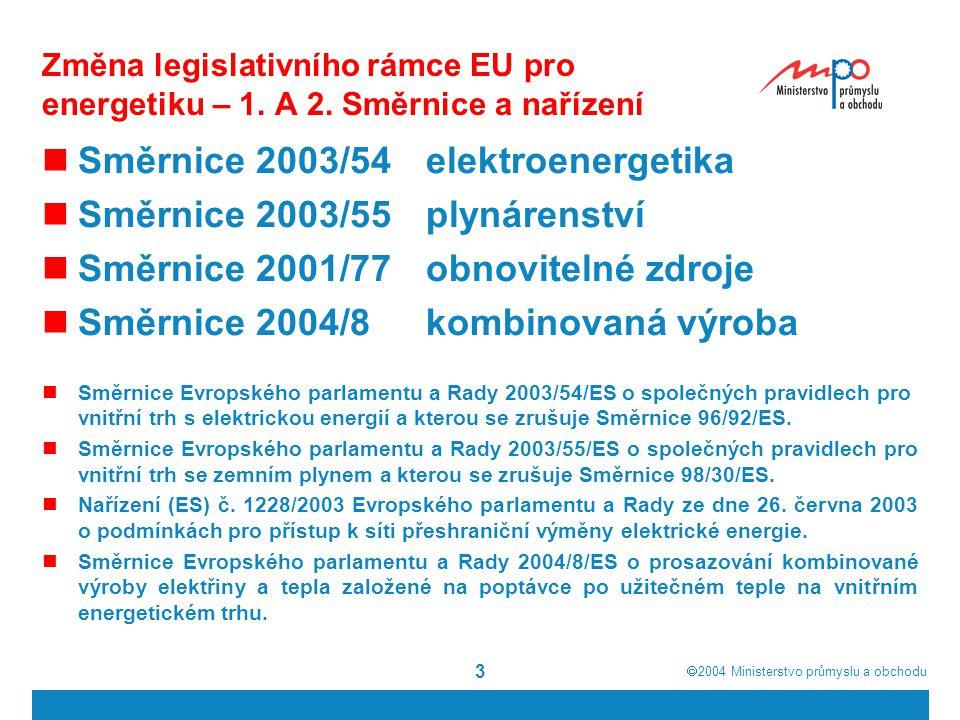  2004  Ministerstvo průmyslu a obchodu 4 Legislativní rámec EU pro energetiku - II Rozhodnutí 1229/2003/ES podpora TEN - E Směrnice o bezpečnosti dodávek elektřiny (SoS) Směrnice Evropského parlamentu a Rady 2003/54/ES o společných pravidlech pro vnitřní trh s elektrickou energií a kterou se zrušuje Směrnice 96/92/ES.