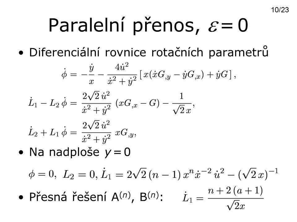 Paralelní přenos,  = 0 Diferenciální rovnice rotačních parametrů Na nadploše y = 0 Přesná řešení A (n), B (n) : 10/23