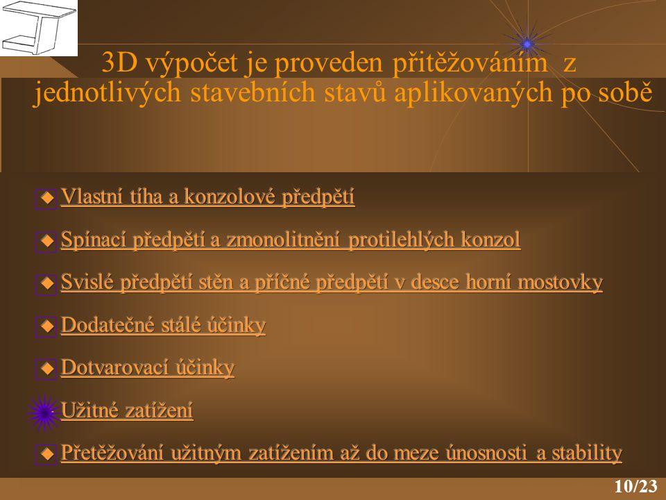 10/23 3D výpočet je proveden přitěžováním z jednotlivých stavebních stavů aplikovaných po sobě