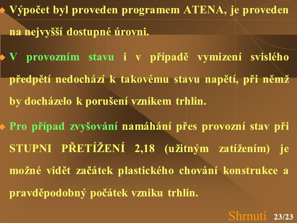23/23  Výpočet byl proveden programem ATENA, je proveden na nejvyšší dostupné úrovni.  V provozním stavu i v případě vymizení svislého předpětí nedo