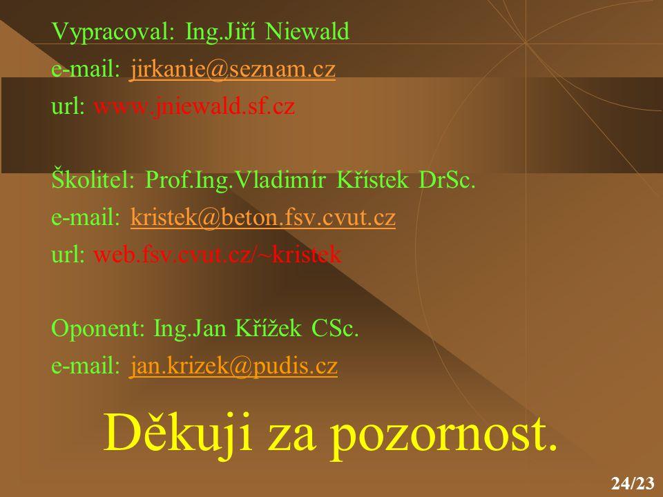 24/23 Děkuji za pozornost. Vypracoval: Ing.Jiří Niewald e-mail: jirkanie@seznam.czjirkanie@seznam.cz url: www.jniewald.sf.cz Školitel: Prof.Ing.Vladim