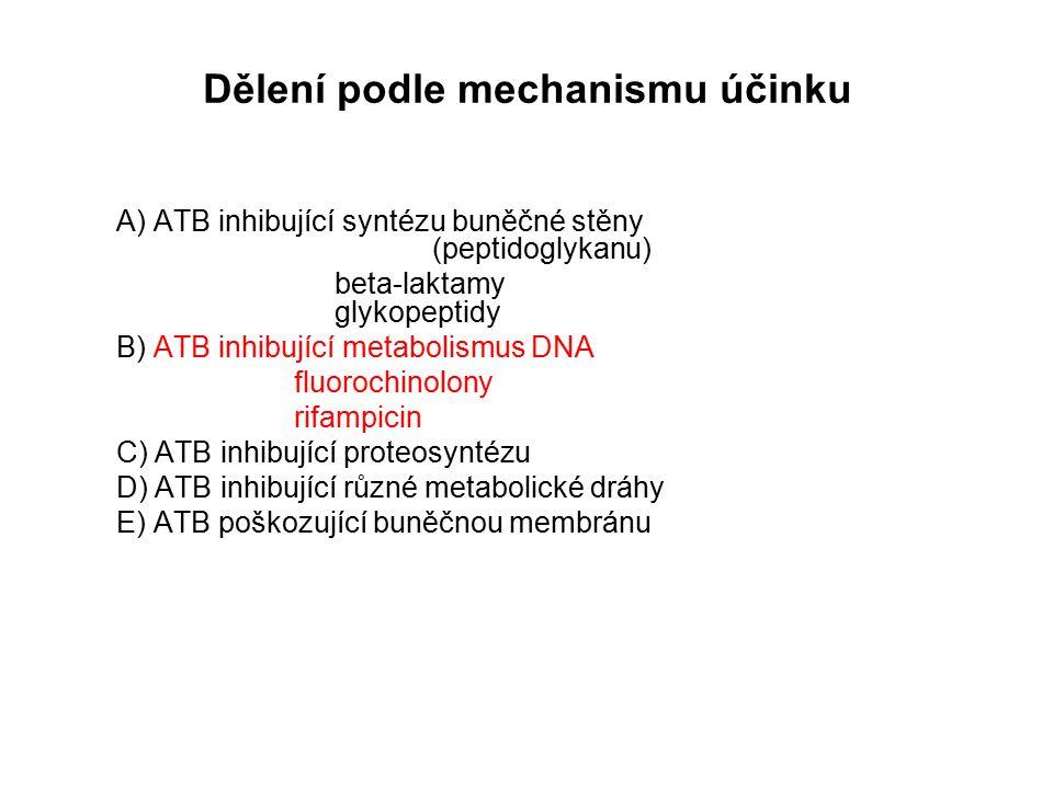 Dělení podle mechanismu účinku A) ATB inhibující syntézu buněčné stěny (peptidoglykanu) beta-laktamy glykopeptidy B) ATB inhibující metabolismus DNA fluorochinolony rifampicin C) ATB inhibující proteosyntézu D) ATB inhibující různé metabolické dráhy E) ATB poškozující buněčnou membránu
