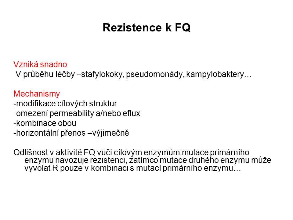 Rezistence k FQ Vzniká snadno V průběhu léčby –stafylokoky, pseudomonády, kampylobaktery… Mechanismy -modifikace cílových struktur -omezení permeability a/nebo eflux -kombinace obou -horizontální přenos –výjimečně Odlišnost v aktivitě FQ vůči cílovým enzymům:mutace primárního enzymu navozuje rezistenci, zatímco mutace druhého enzymu může vyvolat R pouze v kombinaci s mutací primárního enzymu…