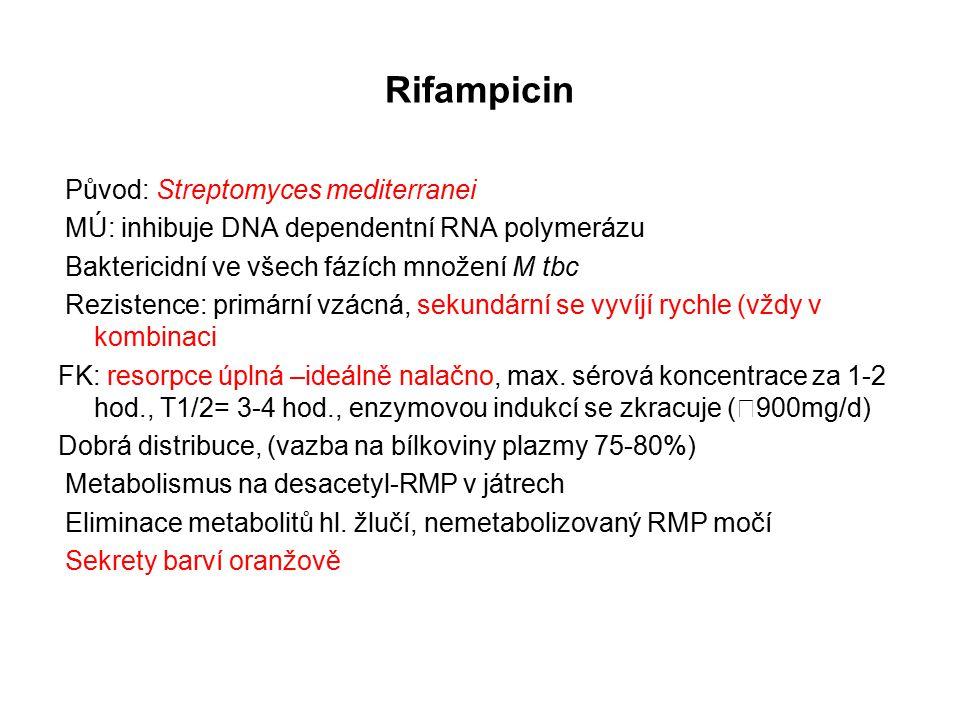 Rifampicin Původ: Streptomyces mediterranei MÚ: inhibuje DNA dependentní RNA polymerázu Baktericidní ve všech fázích množení M tbc Rezistence: primární vzácná, sekundární se vyvíjí rychle (vždy v kombinaci FK: resorpce úplná –ideálně nalačno, max.