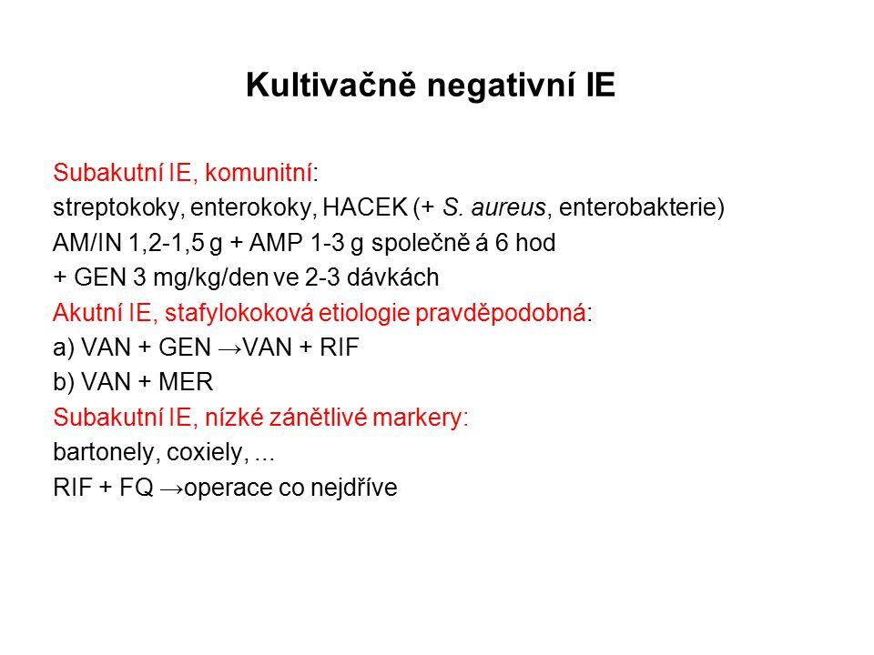 Kultivačně negativní IE Subakutní IE, komunitní: streptokoky, enterokoky, HACEK (+ S.