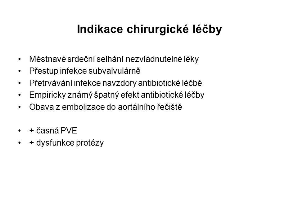Indikace chirurgické léčby Městnavé srdeční selhání nezvládnutelné léky Přestup infekce subvalvulárně Přetrvávání infekce navzdory antibiotické léčbě Empiricky známý špatný efekt antibiotické léčby Obava z embolizace do aortálního řečiště + časná PVE + dysfunkce protézy