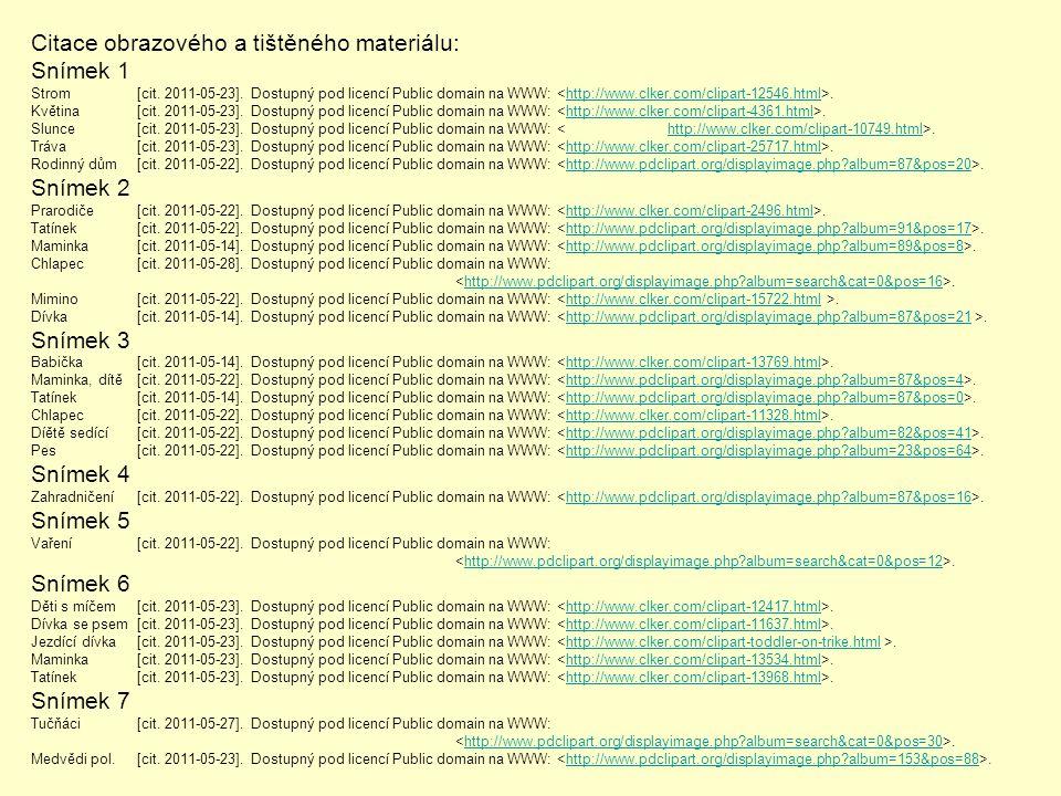 Citace obrazového a tištěného materiálu: Snímek 1 Strom[cit. 2011-05-23]. Dostupný pod licencí Public domain na WWW:.http://www.clker.com/clipart-1254