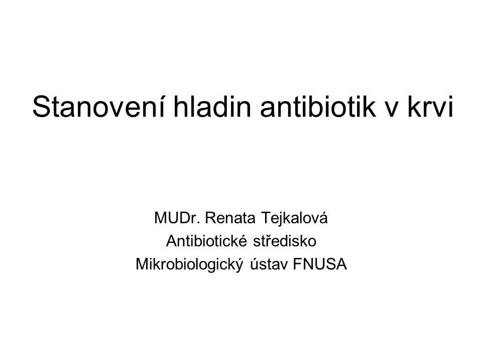 Stanovení hladin antibiotik v krvi MUDr. Renata Tejkalová Antibiotické středisko Mikrobiologický ústav FNUSA
