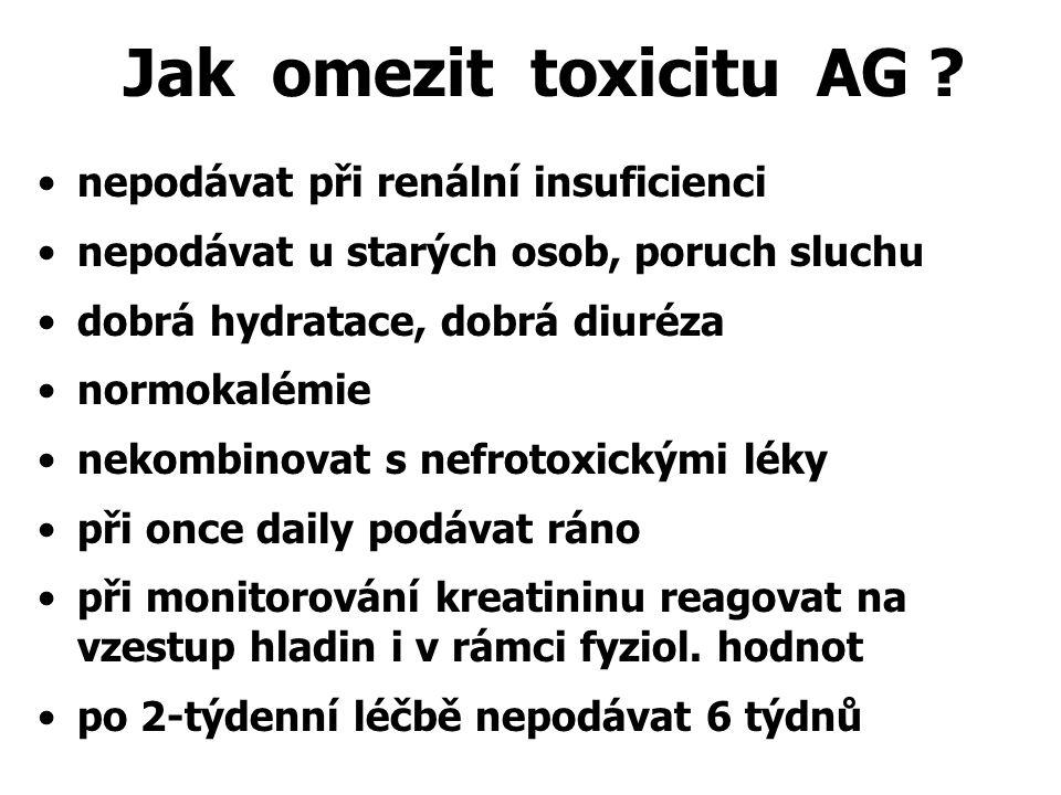 Jak omezit toxicitu AG ? nepodávat při renální insuficienci nepodávat u starých osob, poruch sluchu dobrá hydratace, dobrá diuréza normokalémie nekomb