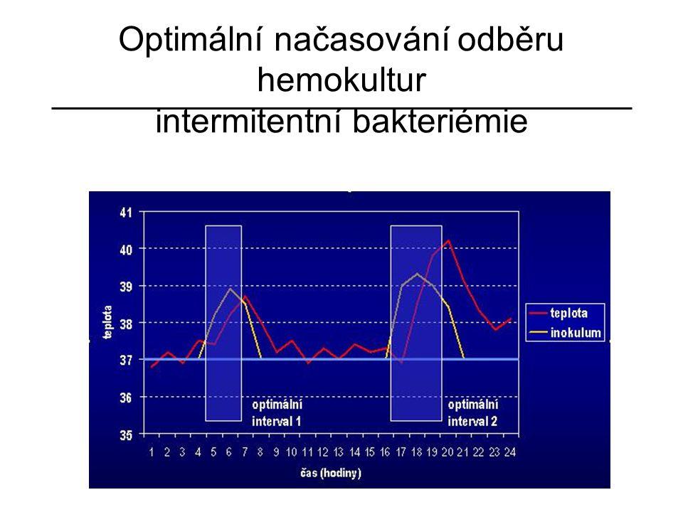 Optimální načasování odběru hemokultur intermitentní bakteriémie optimální interval 1 optimální interval 2