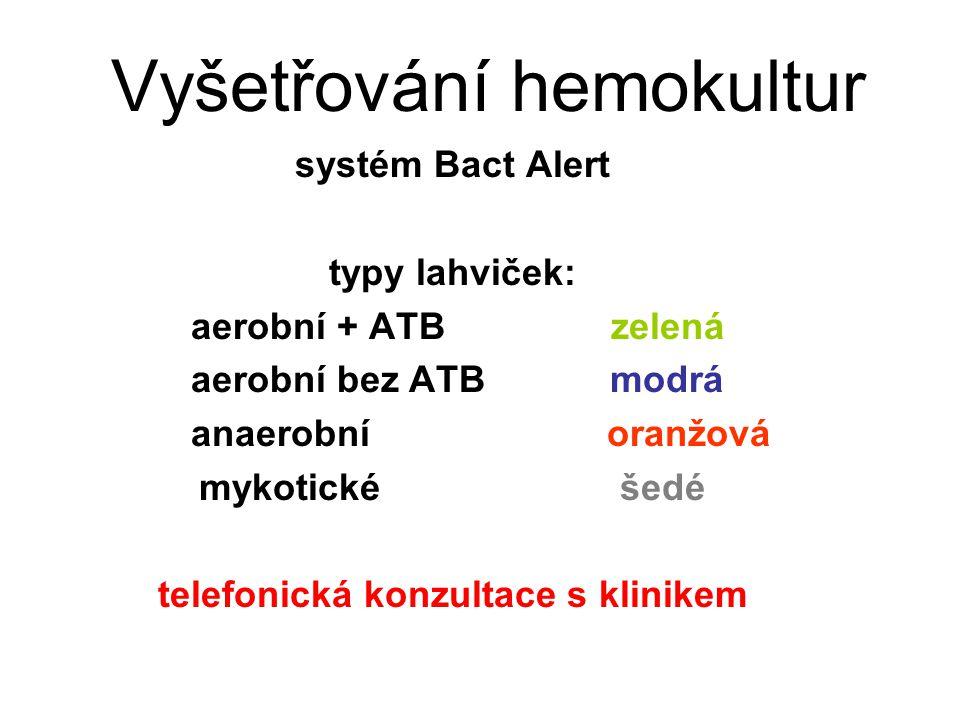 Vyšetřování hemokultur systém Bact Alert typy lahviček: aerobní + ATB zelená aerobní bez ATB modrá anaerobní oranžová mykotické šedé telefonická konzu