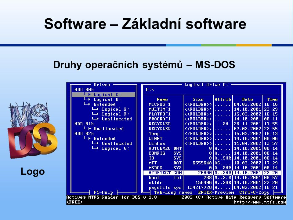 Software – Základní software Druhy operačních systémů – MS-DOS Logo