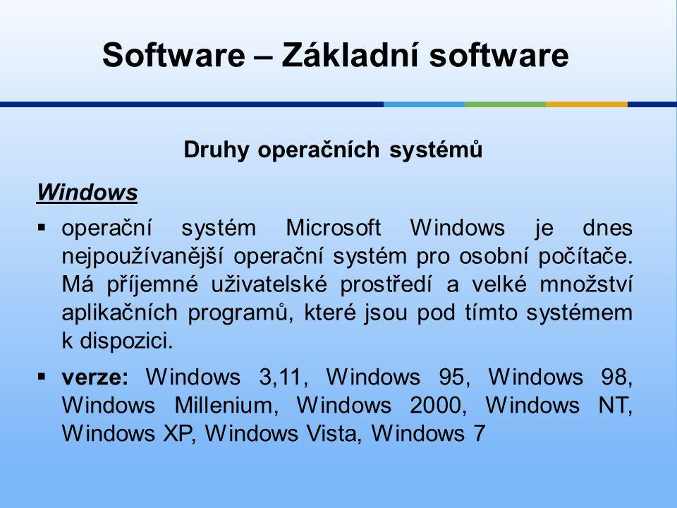 Software – Základní software Druhy operačních systémů Windows  operační systém Microsoft Windows je dnes nejpoužívanější operační systém pro osobní počítače.