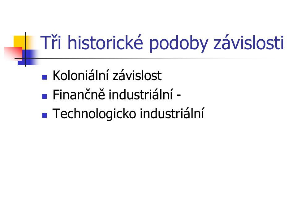 Tři historické podoby závislosti Koloniální závislost Finančně industriální - Technologicko industriální