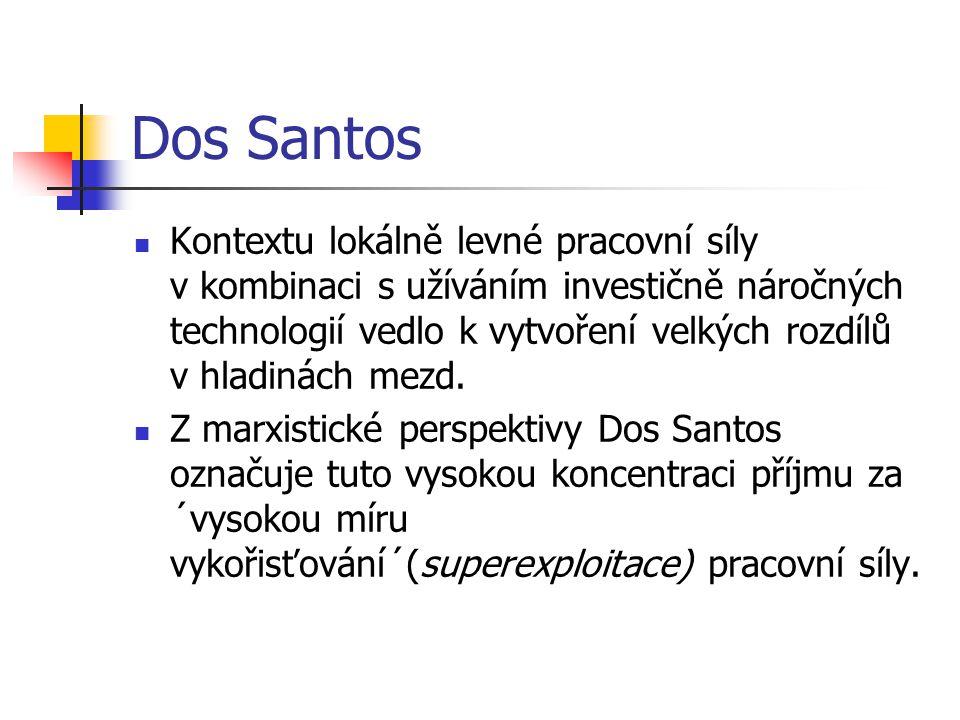 Dos Santos Kontextu lokálně levné pracovní síly v kombinaci s užíváním investičně náročných technologií vedlo k vytvoření velkých rozdílů v hladinách mezd.