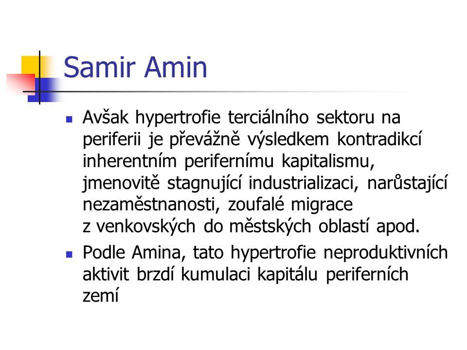 Samir Amin Avšak hypertrofie terciálního sektoru na periferii je převážně výsledkem kontradikcí inherentním perifernímu kapitalismu, jmenovitě stagnující industrializaci, narůstající nezaměstnanosti, zoufalé migrace z venkovských do městských oblastí apod.